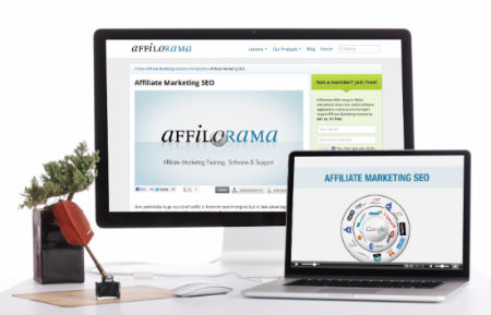 Desktop computer displaying Affilorama website